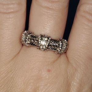 Judith Ripka Sterling Silver CZ Cable Rope Ring